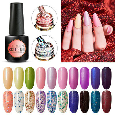 MEET ACROSS 7ml Classic Shimmer Glitter Nail Polish Soak off UV Gel Varnish Tips