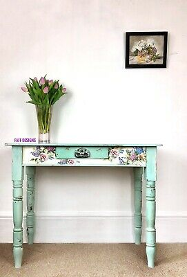 Antique Pine Console, Hall Or Dressing Table With Floral Detail, Shabby Chic