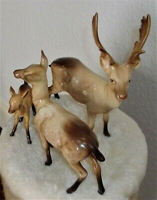 Beswick Stag Doe And Fawn Models 981 999A & 1000B. see description.