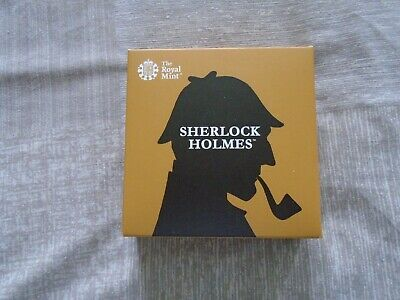 2019 Sherlock Holmes Silver Proof 50P Coin. UNC. With COA And Booklet.