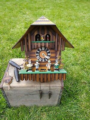 ANTIQUE MUSICAL CUCKOO CLOCK Gebr.Kuner Germany Band Dancers Schwarzwald Chalet