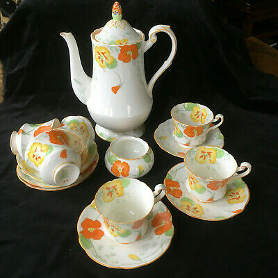 Beautiful Vintage Art Deco Handpainted Royal Paragon China 14 Piece Coffee Set