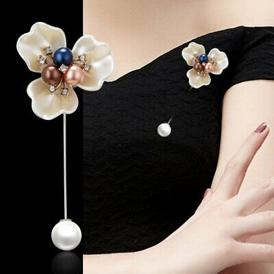 Women Pearl Crystal Flower Brooch Pin Wedding Banquet Jewelry Suit Sweater Gift