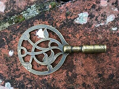 Unusual Solid Brass Bracket Clock Key With Engraved Bow & Ringed Shaft