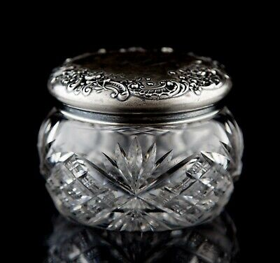 Antique Gorham Repousse Sterling Silver ABP Glass Powder Box Vanity Jar S2595