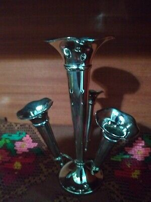 Victorian Trumpet Epergne Silver Plated with Three Vases