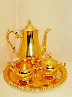 VTG. 24K GOLD PLATE 50th ANNIVERSARY GIFT COFFEE TEA SET INTERNATIONAL SILVER CO