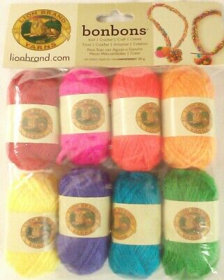 Lion Brand BON BONS Acrylic DK Light worsted Mulit-pack 8 colors 28yd ea CRAYONS