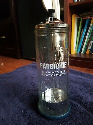 USED VINTAGE BARBICIDE Clear Glass Disinfectant Jar King