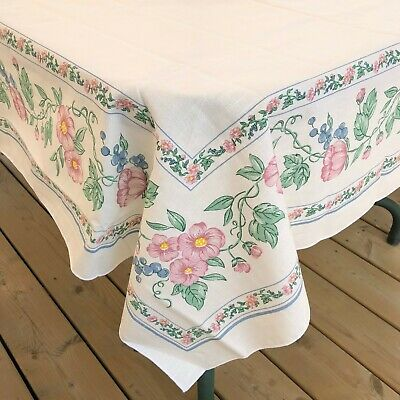 Pink Floral Blue Berries Border Sunweave Cotton Blend Tablecloth 84 x 62 Brazil