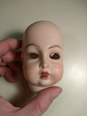 """Antique German Doll Head Hand Painted Sassy 4.5"""""""