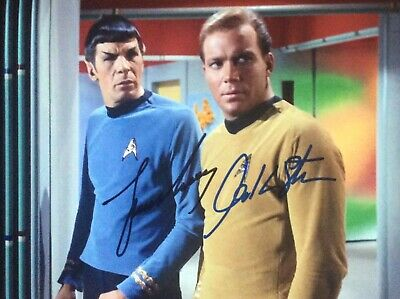 Leonard Nimoy William Shatner beautiful 8 x 10 signed photo Star Trek Lovely