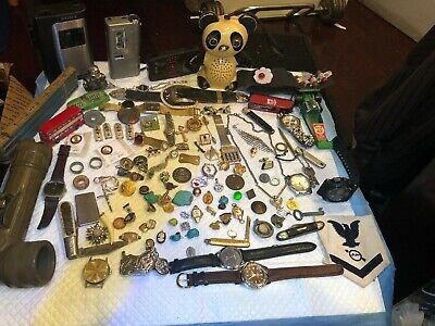 Large Vintage Junk Drawer Lot Knives,Jewelry,watches,pine,antiques,cuffs,coins-
