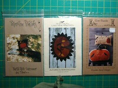 3 Wool Applique Patterns - AUTUMN! - Give Thanks - Pumpkin Patch - Autumn In NEW