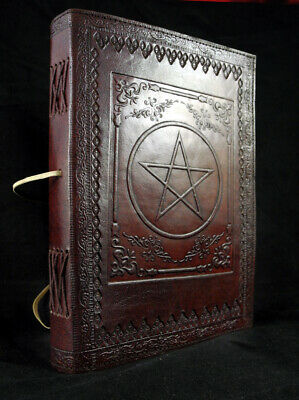 PENTAGRAM - Large Handmade Leather Journal Pagan Wicca Book of Shadows