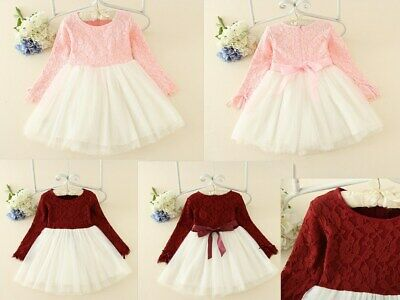 Flower Girl Princess Lace  Wedding Dress long sleeve Gown Tulle Tutu for  Kids