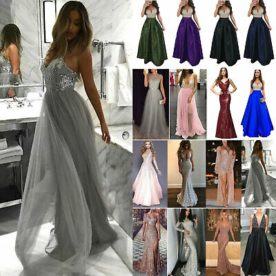 Women Long Dress Evening Formal Party Prom Wedding Bridesmaid Ball Gown 8-18