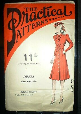 """UNUSED RARE VINTAGE 1930/1940s THE PRACTICAL PATTERNS 6001 DRESS SEWING BUST 34"""""""