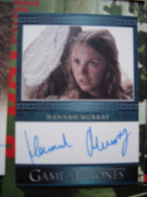 Game of Thrones Hannah Murray Autograph card as Gilly Blue Border series 3