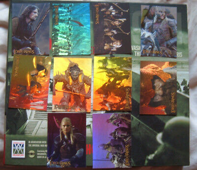 Lord of the Rings Prismatic foil chase set of 10 cards TTT 1-10