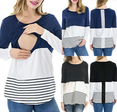 Women Pregnant Maternity Clothes Nursing Top Breastfeeding  Lace Stripe T-Shirt