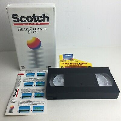 3M Scotch Video Cassette Head Cleaner Plus VHS SVHS Cleaning Tape - Made in UK