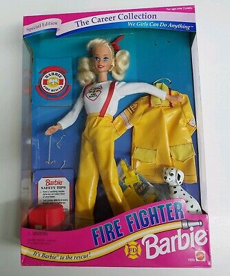 Rare FIRE FIGHTER Barbie Career Collection Fashion Doll Mattel  NRFB 1993'