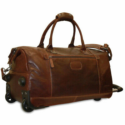 Jack Georges Voyager Leather Wheeled Duffle Bag in Brown