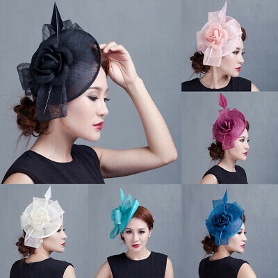 Women Fascinators Hair Clip Hairpin Hat Feather Cocktail Wedding Tea Party