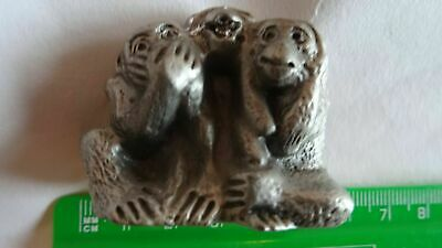 """"""" The Three Wise Monkeys """"     Cast In White Metal"""