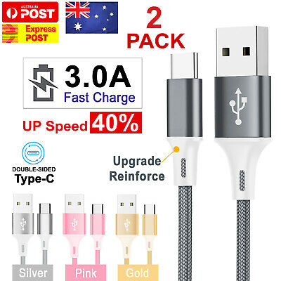 2x FAST Braided USB Type C USB-C Data Snyc Cable Charger Galaxy S9 S10 + HUAWEI