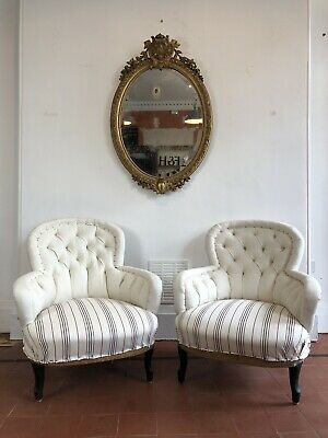 Antique Chairs - Pair Of French Armchairs / 19th Century / Deep Button Chairs