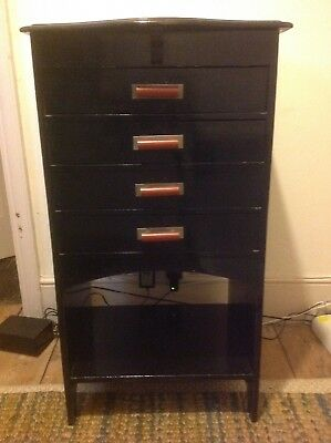 Striking Antique Black Art Deco 1920's Cabinet Chest of Drawers