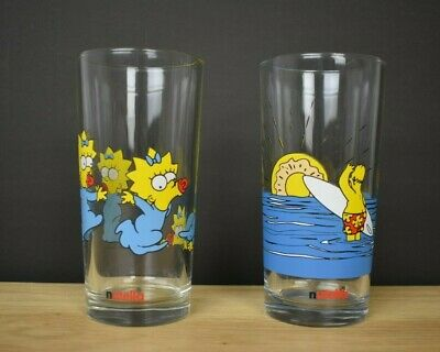 Nutella Collectable Glasses 2x Simpsons 1998 Maggie Homer Excellent Condition