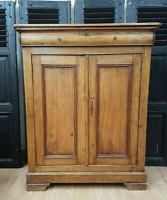 Unusual Antique French Tall Pine Cabinet - C1900