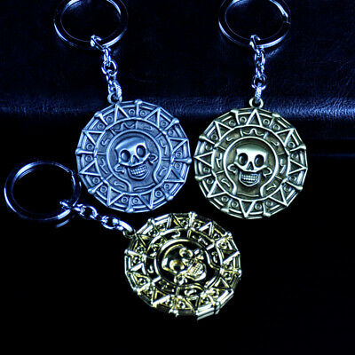 Pirates of the Caribbean Aztec Coin Alloy Key Chains Keychain Keyfob Keyring New