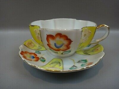 Vintage Merit Tea Cup Saucer Set Made in Occupied Japan YELLOW