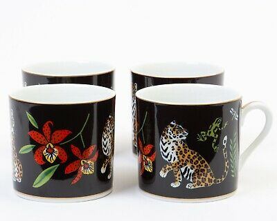 Set of 4 Lynn Chase Designs Jaguar Jungle Demitasse Espresso Cups 24k Gold 2.25""