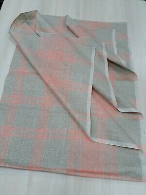 New Linen Tablecloth Gray With Pink Stripes 150х100cm Vintage Soviet Union