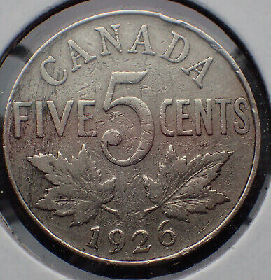 Canada 1926 NEAR 6-  5 cents Nickel Canadian Low mintage - Rare coin