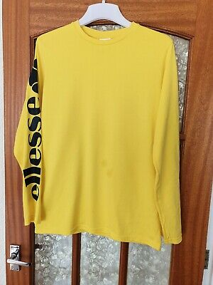 Ellesse Womans Yellow Long Sleeved Crew Neck T-shirt Size UK 10 FREE POSTAGE
