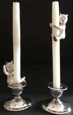 Vintage Holt Howard Japan Cat Ballet Candle Huggers Climbers