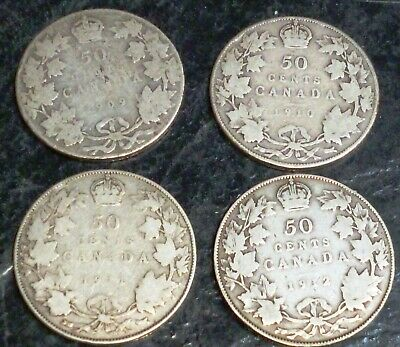 1909 1910 1911 1912 Low Grade Canada Fifty Cents Silver Coins