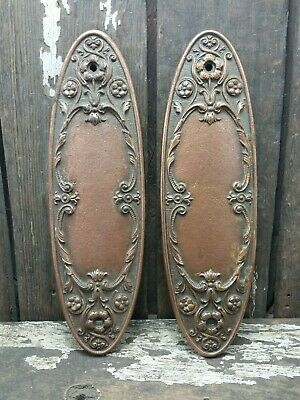 """2 VTG Rustic ORNATE Fancy Cast Iron Door Push Plate Backplate 10 5/16"""" Tall"""