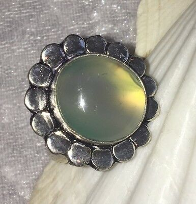 Stunning Handmade Green Aventurine Crystal Silver Plated Statement Ring - Size U