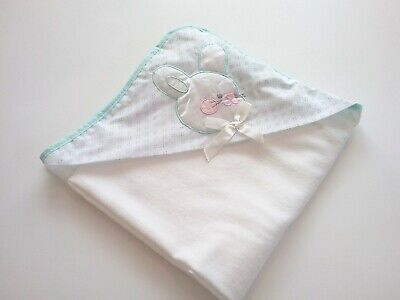 Quiltex Vintage Hood Hooded Baby Blanket Bunny Rabbit Mint Green White Cotton