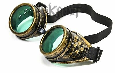 Green Brass Steampunk Crazy goggles Burning man festival costume Scientist