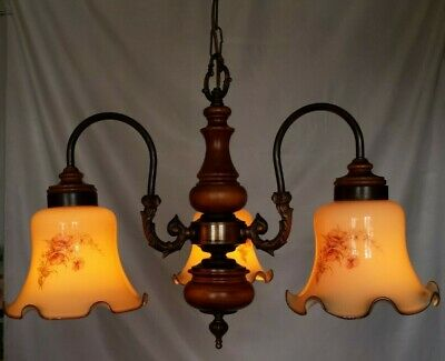 French Country Vtg Lamp Style Cabin Farmhouse Wood Brass Chandelier 3-light