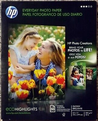 "Lot of 5 HP Everyday Glossy Photo Inkjet Paper 8.5""x11"" 50 sheets ea= 250 sheets"
