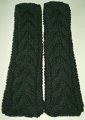 Charcoal Grey/Gray Cable Knit Fingerless Gloves Bella Twilight Style Handmade